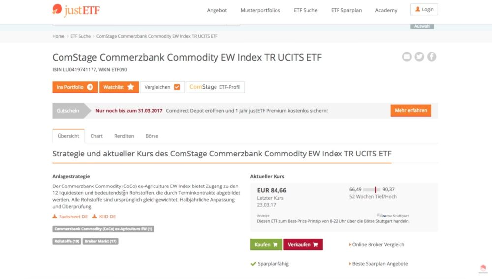 justETF - comStage Commerzbank Commodity EW Index TR UCITS ETF